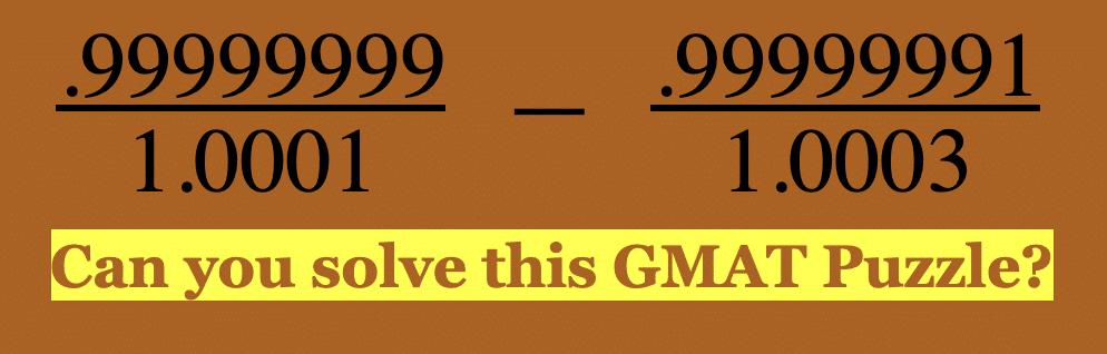 99999999 GMAT Puzzle